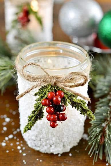 christmas snow mason jar