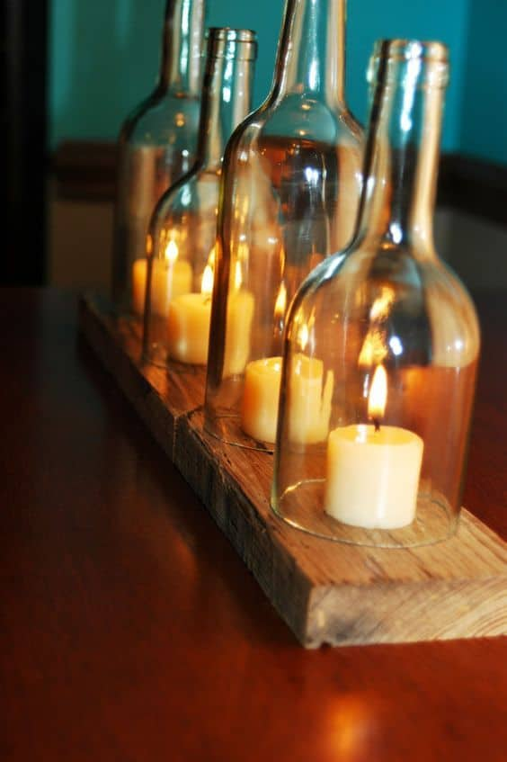 Candlelight Wine Bottle Centerpiece