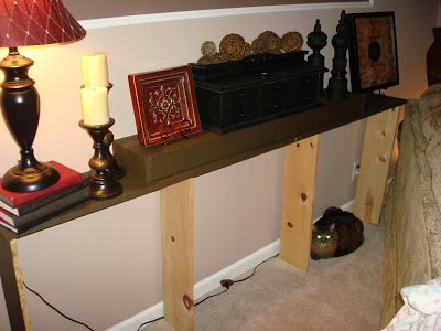 DIY Chocolate Brown Sofa Table Under $20