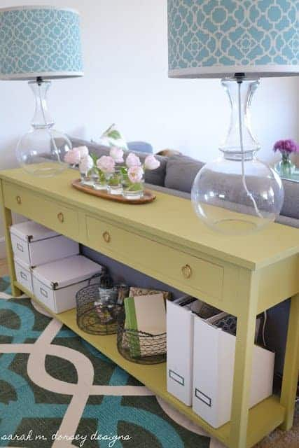 DIY Custom Sofa Table with Drawers