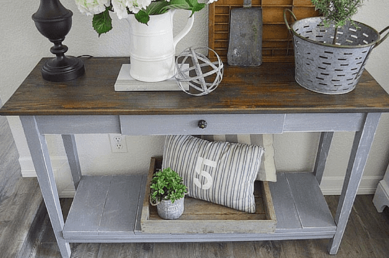 DIY Gray Sofa Table