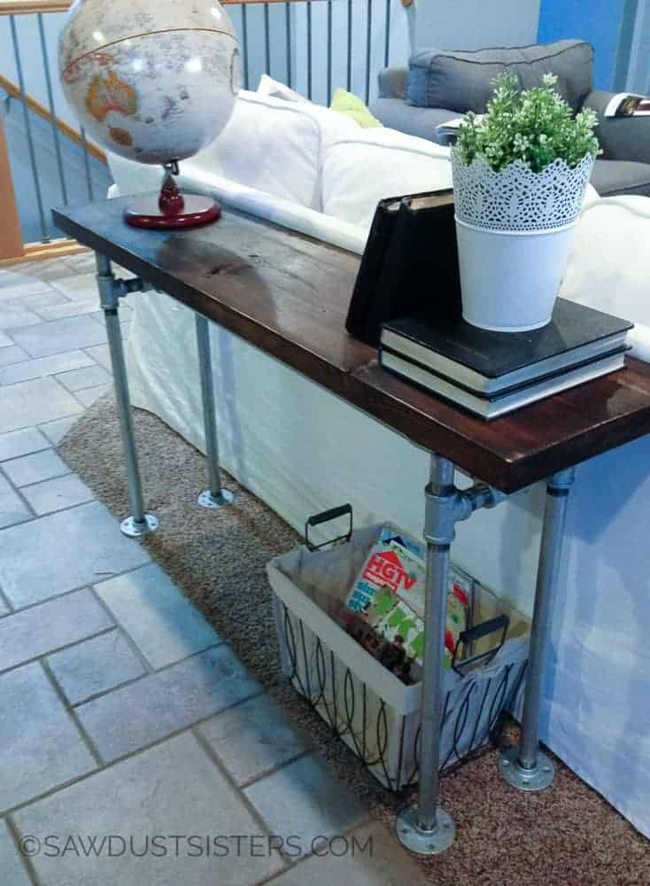 Easy DIY Pipe Frame Sofa Table