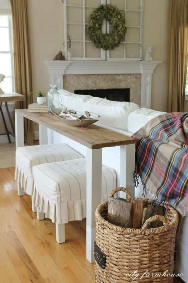 Easy DIY Reclaimed Wood Sofa Table