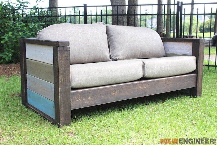 The Cozy Custom Wood Plank Loveseat Sofa
