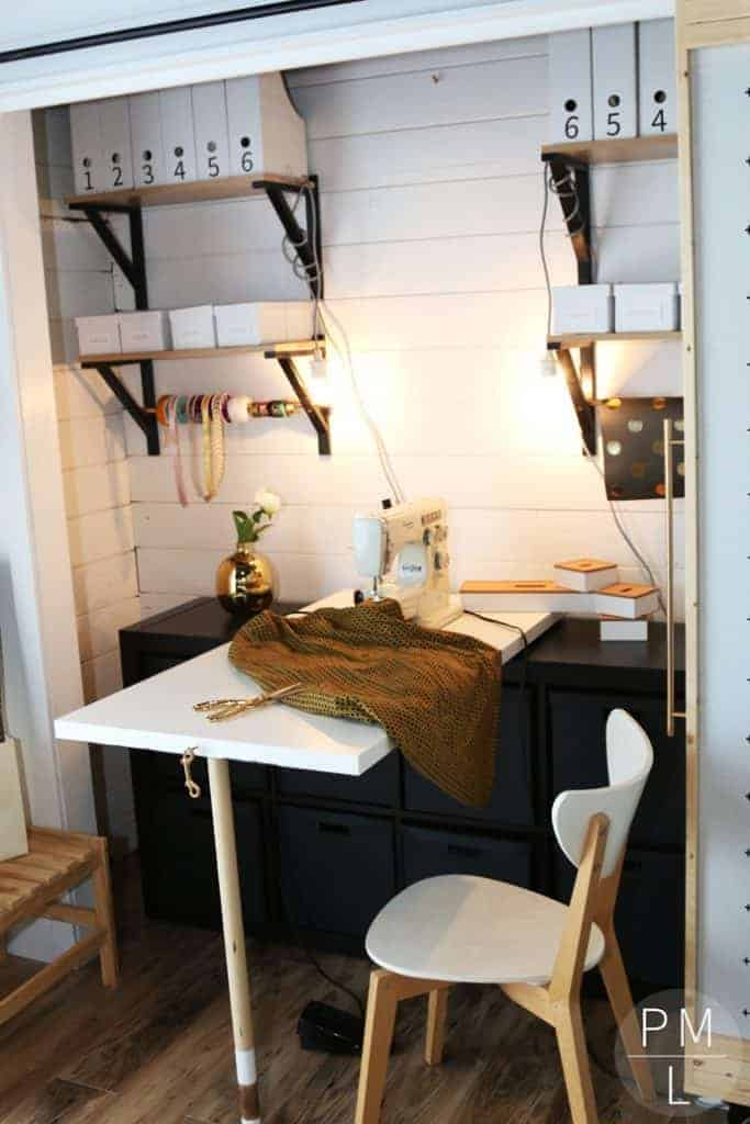DIY Chalkboard Fold Down Sewing Table