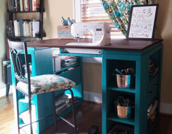 The Decorative Blue Integrated Sewing Table Desk Build