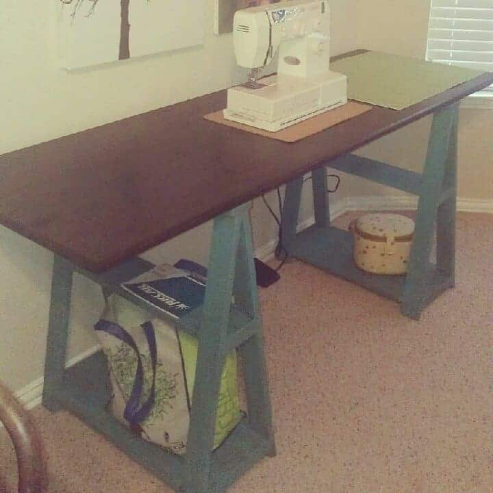 The Improvised Up cycled Saw Horse Style Sewing Table Idea