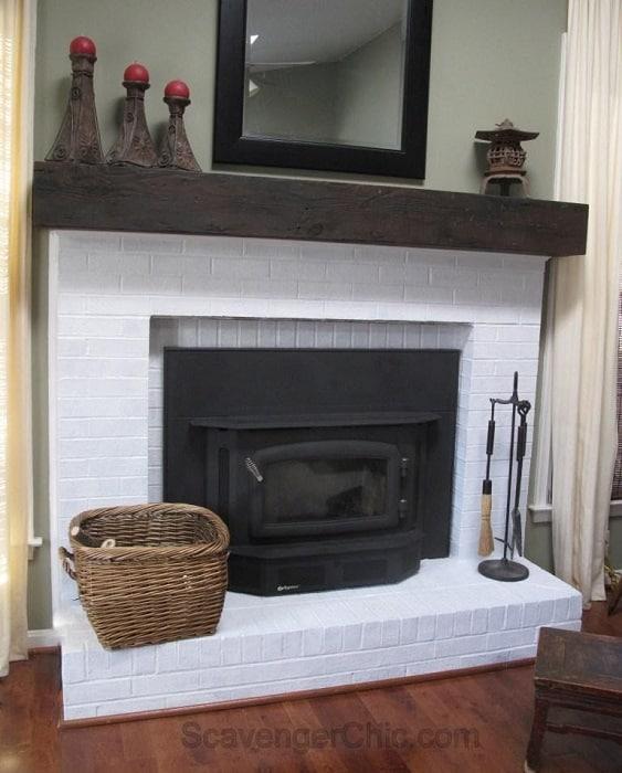 DIY Faux Railroad Tie Fireplace Mantel