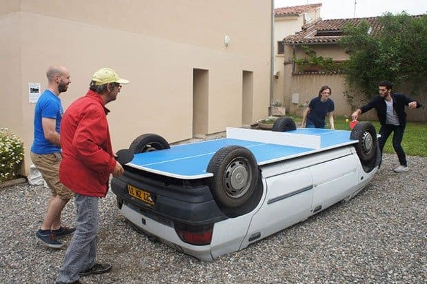 Old Car Upside Down Ping Pong Table