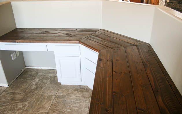 Stained Wood Plank DIY Corner Desk Plans