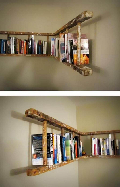 DIY Cheap Ladder Bookshelf