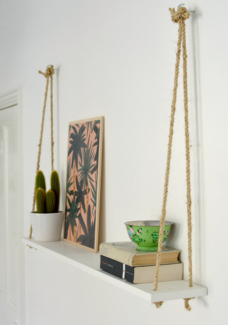 DIY Easy Rope Bookshelf Plan