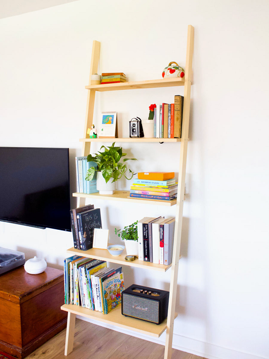 DIY Leaning Ladder Bookshelf