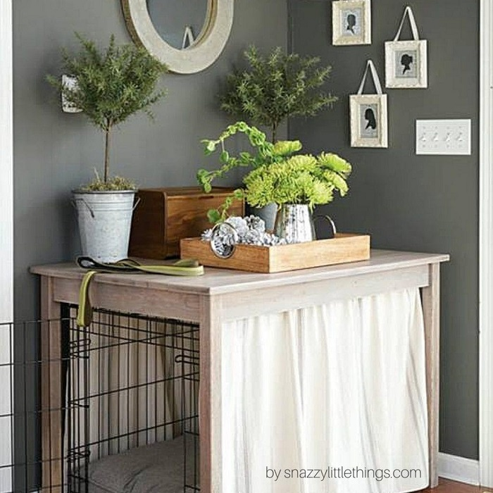 DIY Plush Curtained Dog Crate