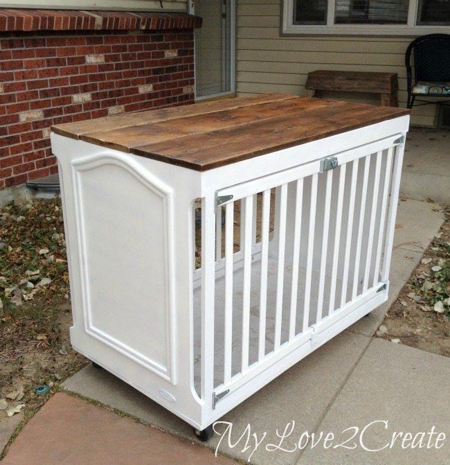 DIY Repurposed Crib Dog Crate
