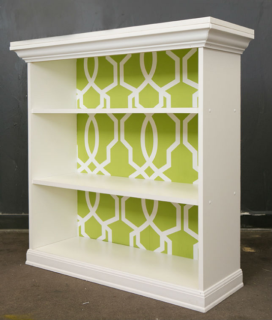 DIY Wallpapered Bookshelf