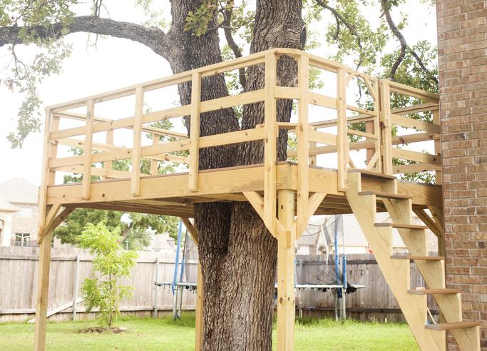 DIY Deck Treehouse