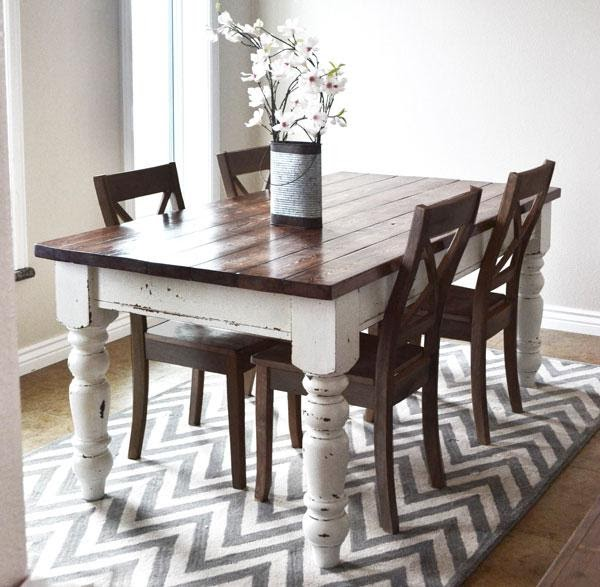Rustic Wood Top Farmhouse Table