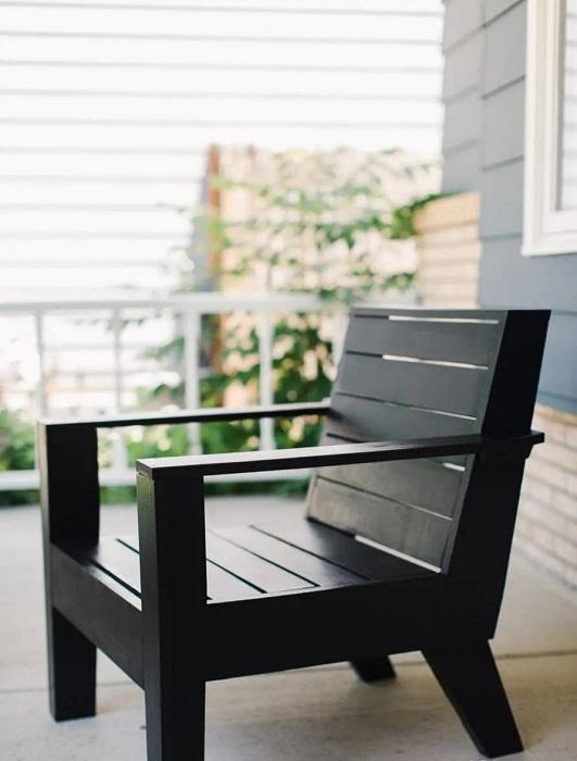 DIY Jet Black Adirondack Chair