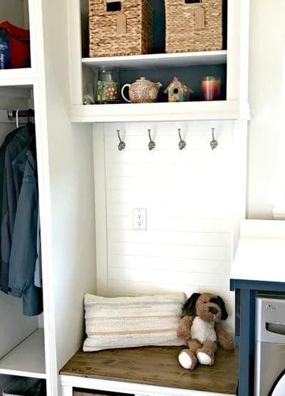 DIY Mudroom Bench in Laundry Room
