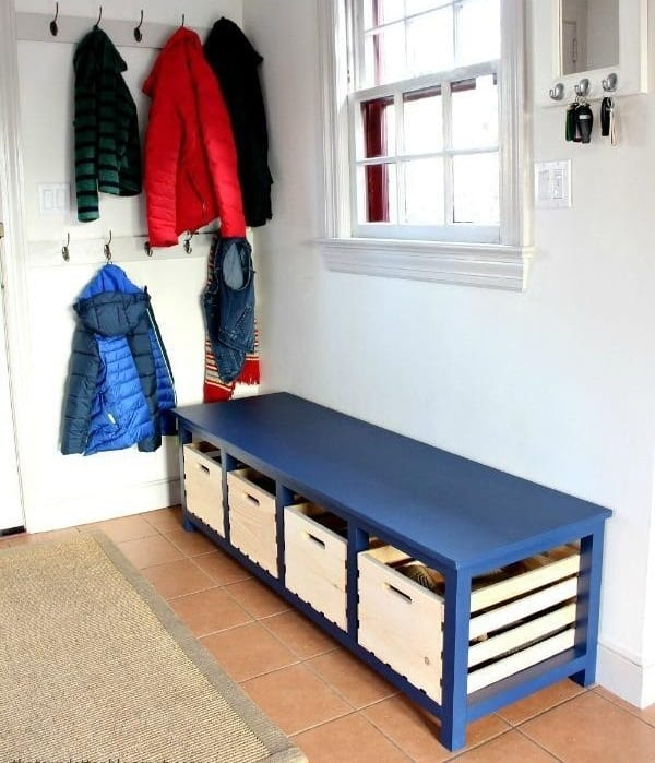 DIY Shoe Storage Mudroom Bench