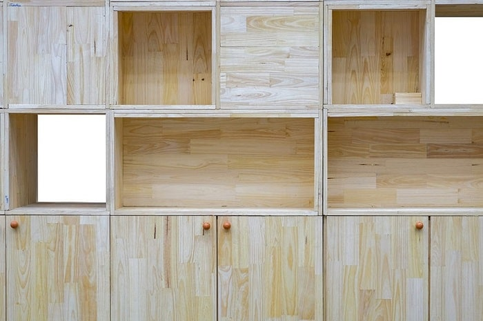 Kitchen cabinet with wooden pallets