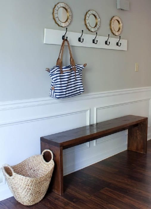 Sleek Solid DIY Wooden Bench Seat